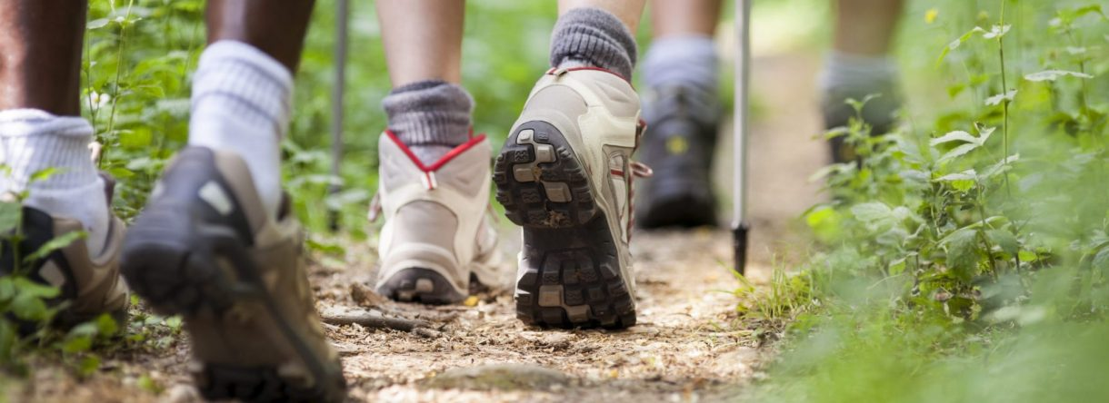 Gros plan sur les chaussures d'un groupe de randonneurs en marche.