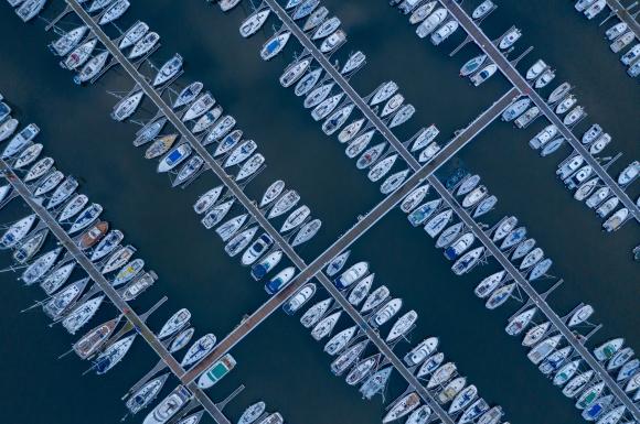 vue aérienne du Port du Kernevel à Larmor-Plage